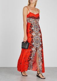 FREE PEOPLE Morning Song red crepe maxi dress | long lace panel dresses