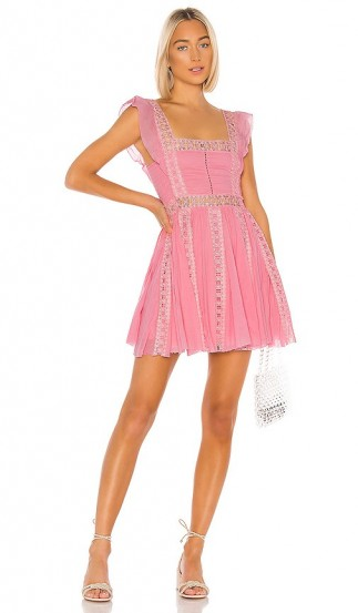 Free People Verona Dress Pink – lace trimmed fit and flare