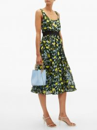 DIANE VON FURSTENBERG Freeda lemon-embroidered tulle dress | retro summer fashion