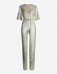 GALVAN Galaxy V-neck metallic jumpsuit in light-gold | glam party wear
