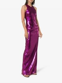 Galvan Purple Sequin-Embellished Gown