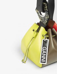 GANNI Multi-coloured leather drawstring bag | colour-block bags