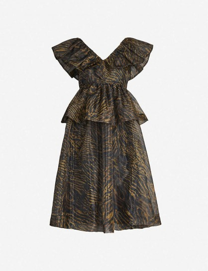 GANNI Tiger-print organza dress