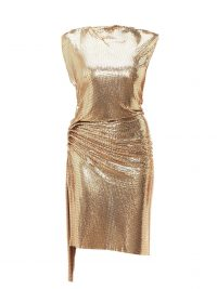 PACO RABANNE Gathered chainmail dress in gold ~ glamorous party clothing