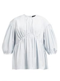 SIMONE ROCHA Gathered poplin top in pale-blue ~ voluminous tops
