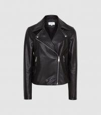 REISS GEO LEATHER BIKER JACKET BLACK ~ casual wardrobe classic