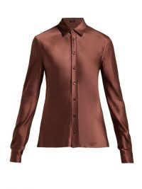 JOSEPH George satin blouse | luxe brown shirt