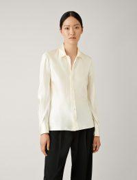 Joseph George Silk Satin Blouse in Ecru ~ effortless style shirts ~ simple luxe look