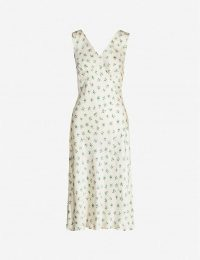 GHOST Floral-print empire-line satin dress in white ~ feminine style summer clothing