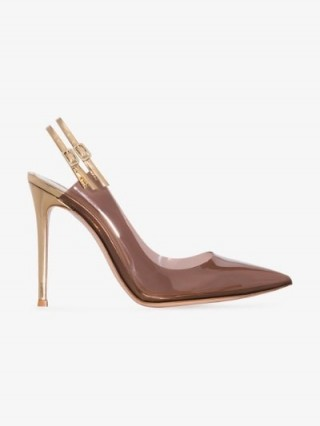 Gianvito Rossi Double Slingback 105mm PVC Pumps in Brown