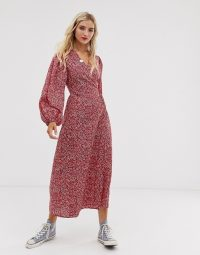 Glamorous midaxi wrap dress in red ditsy floral – casual weekend summer style