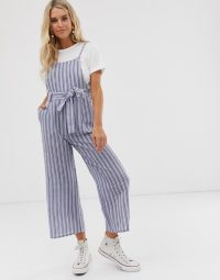 Glamorous pinafore jumpsuit in textured blue stripe