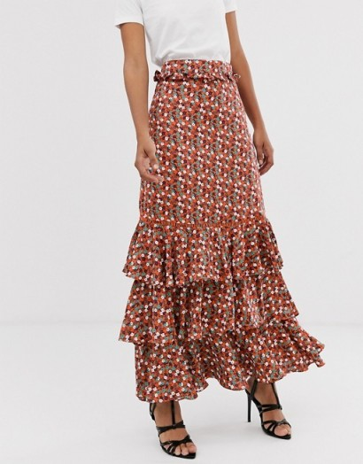 Glamorous Tall midi skirt with ruffle layers in red ditsy floral