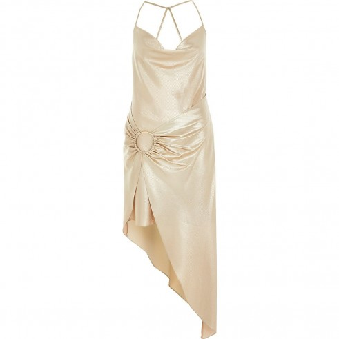 RIVER ISLAND Gold asymmetric slip dress – glamorous party dresses