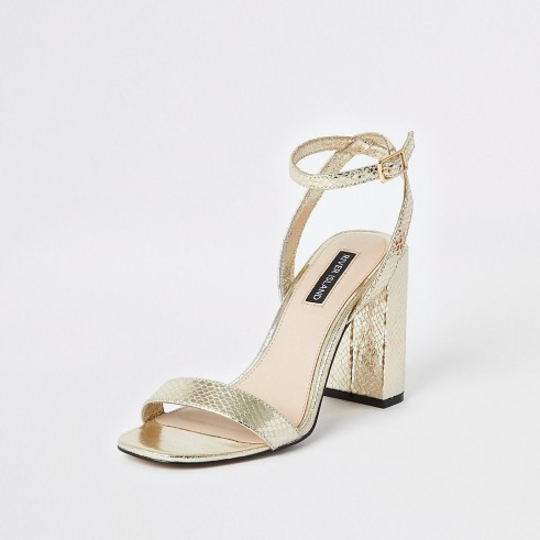 RIVER ISLAND Gold metallic two part block heel sandals – summer party shoes