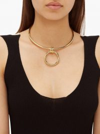 BOTTEGA VENETA Gold-plated drop choker | contemporary necklace