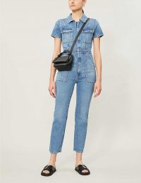 GOOD AMERICAN The Fit For Success short-sleeved denim jumpsuit in Blue274