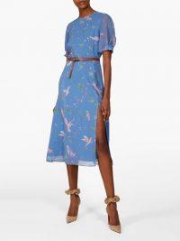 ALTUZARRA Gormann bird-print silk-chiffon midi dress in blue
