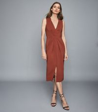 REISS GRACIE PLEAT DETAILED MIDI DRESS RUST ~ orange-brown gathered waist dresses