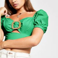 RIVER ISLAND Green buckle puff sleeve crop top