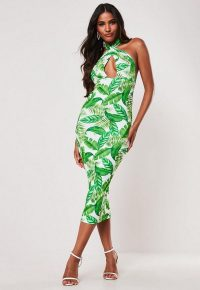 MISSGUIDED green palm print cross front halterneck midi dress – summer party dresses