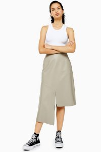 Topshop Boutique Grey Leather Skirt   asymmetric hemline skirts