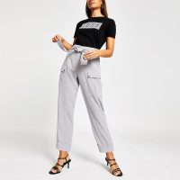 RIVER ISLAND Grey utility peg trousers