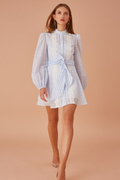KEEPSAKE GUARDIAN LONG SLEEVE MINI DRESS SKY BLUE STRIPE – summer occasion dresses