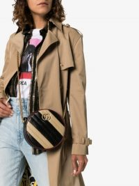 Gucci Black And Beige Marmont Striped Leather Shoulder Bag ~ stylish circular crossbody