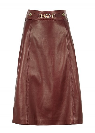 GUCCI Burgundy leather midi skirt ~ luxe A-line skirts ~ classic style clothing