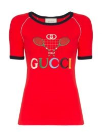 Gucci Tennis Racket Logo Short Raglan Sleeve Cotton T-Shirt in Red / designer tee