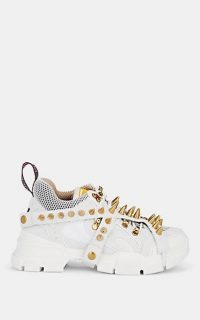GUCCI Women's Flashtrek Spiked Canvas Sneakers in White ~ sports luxe trainers