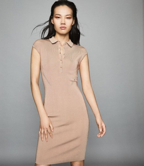 REISS HAILEY BUTTON COLLAR KNITTED DRESS NUDE ~ luxe style knits