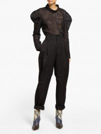 ISABEL MARANT Handy inverted-pleat cotton tapered-leg trousers in black