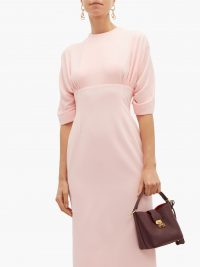 EMILIA WICKSTEAD Helga gathered cloqué midi dress in pink ~ chic ladylike clothing