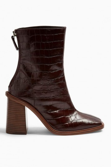 TOPSHOP HERTFORD Burgundy Crocodile Boots – croc embossed block heel boot