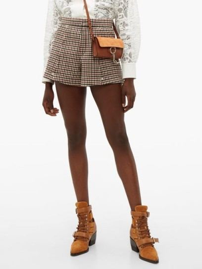 CHLOÉ High-rise checked wool-blend shorts