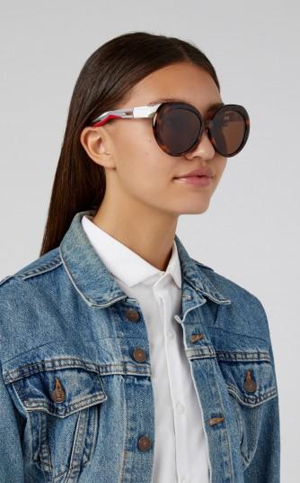 Balenciaga Sunglasses Hybrid Acetate Oversized Round-Frame Sunglasses in Brown ~ statement sunnies