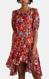 """ICONS OBJECTS OF DEVOTION """"The Babydoll"""" Floral Minidress ~ red high-low mini dress"""