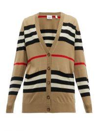 BURBERRY Icon-stripe merino wool cardigan in beige