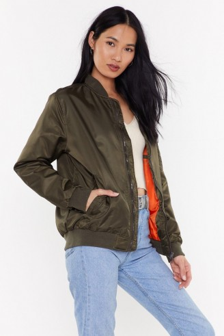 NASTY GAL I'm Your Cherry Bomber Oversized Jacket in Khaki