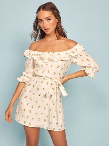 REFORMATION Indio Dress Rosebud / ruffled off the shoulder mini
