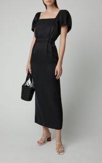 Sir The Label Inez Linen Midi Dress in Black ~ puffed sleeve dresses