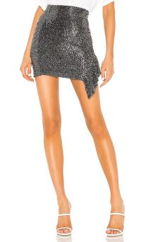 IRO Lilie Skirt Black – metallic side draped mini