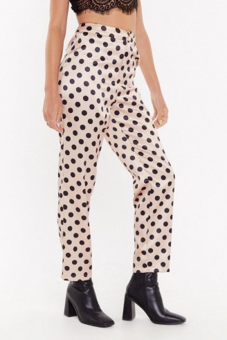NASTY GAL I've Spot Talent Satin Pants Peach
