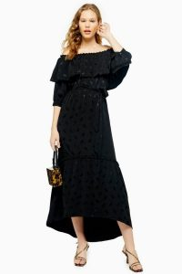 Topshop Jacquard Bardot Dress in Black | chic boho summer dresses