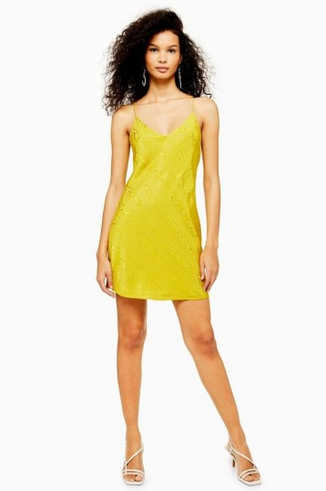 TOPSHOP Jacquard Mini Slip Dress in Chartreuse