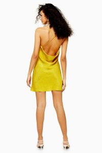 Topshop Jacquard Mini Slip Dress Chartreuse | strappy cross back cami dresses
