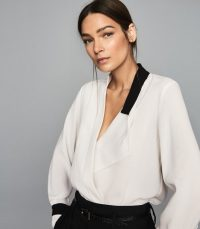 REISS JASMINA WRAP FRONT BLOUSE WHITE/ BLACK