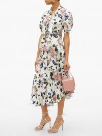ERDEM Jayla white crepe de Chine midi dress ~ ladylike floral dresses